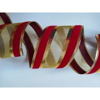 red/gold christmas wire edge ribbon, ultra-sonic pressed wire edge