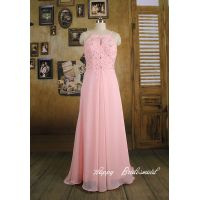 baby pink bridesmaid dress, short knee length a line chiffon bridesmaid dress prom dress thumbnail image