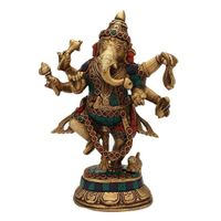 Decorative Dancing Lord Ganesha statue in Turquoise coral work