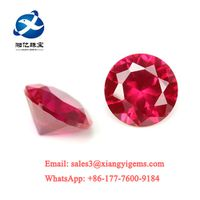 Factory price 1.0~3.0mm 1000pcs 5# synthetic Red stone round brilliant cut corundum gems stone
