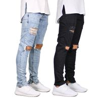 Men High Street Distressed Denim Joggers Knee Holes Washed Destroyed Slim Fit Ripped Jeans