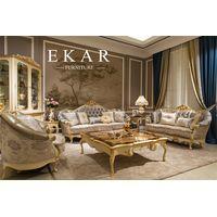 Fabric Design Living Room Furniture Luxury Latest Drawing Wooden Sofa Set