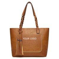 Large capacity PU tassel bag PU zipper beach bag leather bag women