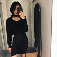 Delicate knitted pullover, loose round collar, simple black sweater woman