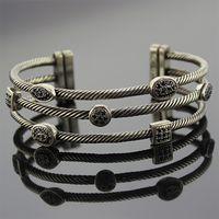 Sterling Silver Jewelry Three Row Diamond Bracelets (B-085) thumbnail image