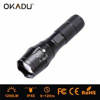 OKADU ZT05 Most Powerful 1200Lumen Small LED Focus Torch Cree T6 Zoom Tactical Flashlight