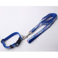 Sublimation Custom Plastic Realease Buckle Adjustable Polyester Dog Collar and Leashes