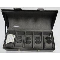 Black genuine leather watch gift box;5 slots men's leather watch display gift box; leather watch cas thumbnail image
