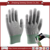 SeeWay 902 Carbon ESD Gloves Nylon Fingertips PU Gloves