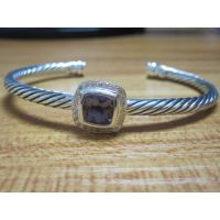 Sterling Silver Jewelry 4mm Silver Bracelet with Amethyst (B-090) thumbnail image