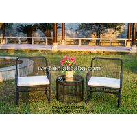 patio furniture resin wicker handwoven chair and side table round wicker finished with cushion and t