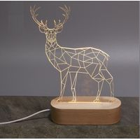 Wholesale Ellipse USB Led Wood Base for 3D Lamp Illusion Night Light