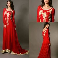 2014 Red Chiffon Embroidery A line Scoop Arabic Kaftan Dubai Long Sleeve Floor Length Court Train Lo