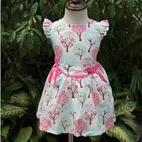 Summer cotton girl frocks dress kids wear with pink belt thumbnail image
