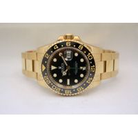 NEW ROLEX GMT MASTER II CERAMIC 18K YELLOW GOLD BLACK DIAL WATCH REF 116718