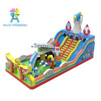 inflatable space exploration super Aleste bouncy house, inflatable space megaforce castle with slide thumbnail image