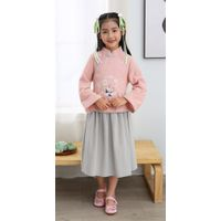 Girl summer embroidered cotton long sleeve mandarin colar two piece sets Chinese traditional clothin thumbnail image
