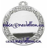 Shiny slver plated round blank medal thumbnail image