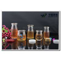 High quality customize glass pudding milk jar with plastic cap or cork wholesale