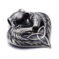Retro Domineering Double Wolf Head Stainless Steel Pendant Personalized Rock Punk Wolf Pendant thumbnail image