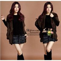 WOMEN SLEEVELESS KNIT BAT FASHION COAT