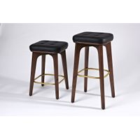 Solid wood bar stool in upholstery thumbnail image