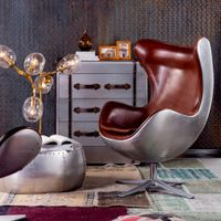 Industrial style aluminum back egg chair brush leather hanging egg chair egg shape leisure chair