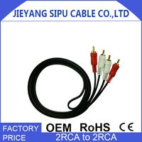 China manufacture oem size 2rca high grade ofc audio video cable