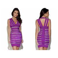 Crystals Embellished Purple Bandage Dress thumbnail image