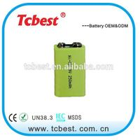 250mAh 9v NI-MH rechargeable battery ISO complited