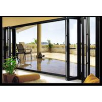 Double glazed aluminum folding doors for living room