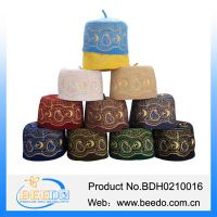 2015 new design embroidery wool felt Islamic prayer cap