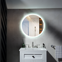 Silver bedroom decoration hotel bathroom Round mirror with led thumbnail image