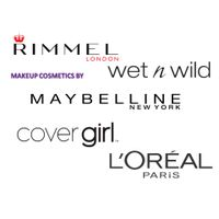 makeup cosmetics: L'Oreal, Maybelline, Revlon, Covergirl, Wet N Wild.