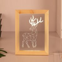 Customize laser cut acrylic light wood photo frame night lamp 3d led optical illusion lamp