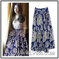 Summer Fashion Women Floral Printed Long Maxi Flared Skirt Wholesale