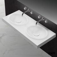 Thin Double Vanity Sinks Bathroom Used Long Counter Wash Basin