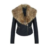 hot sale the newest design genuine sheepskin black women leather jackets with faux fur
