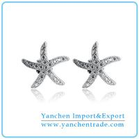 Sea Star Shaped Micro Pave CZ Diamond Fashion Stud Earring
