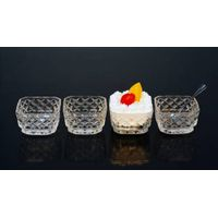 4pcs crystal glass ice cream bowl set