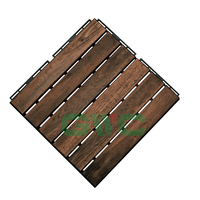 GWC Acacia Wood Interlocking Deck Tiles for Outdoor Patio and Floors - 12 x 12 Inch (6 Slat)