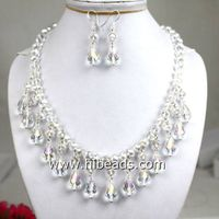"""17"""" white crystal necklace"""
