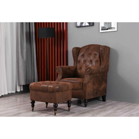 Wingback Armchair and Ottoman