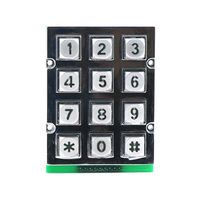 3x4 12keys rated voltage vandalproof zinc alloy backlight LED illuminated keypad B665
