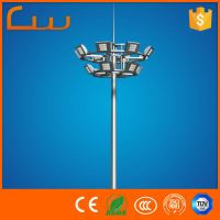 Hot Zinc Galvanized 12M -30M high mast street light pole for football basketball tennis stadium