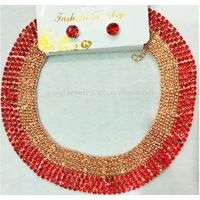 High Quality Gold Plated jewelry set Necklace Earrings red Rhinestone elegant Jewelry