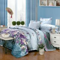 Natural Cotton Linen American Style Floral Reactive Print and Jacquard 3-Piece and 4-Piece Queen and