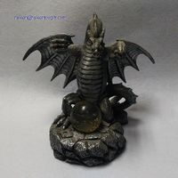 8 Inch Grey Resin Dragon Statue With Ball thumbnail image