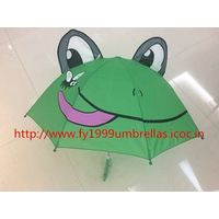 18 Inch Straight Manual Frog Image Children Umbrella