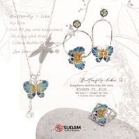 Necklace + Free size Ring (S) + Swing Earrings Butterfly Lake 2